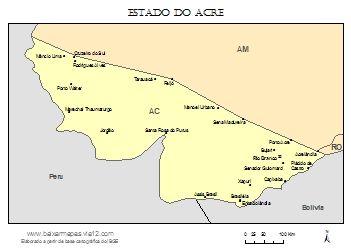 Mapa do acre com nomes dos municípios