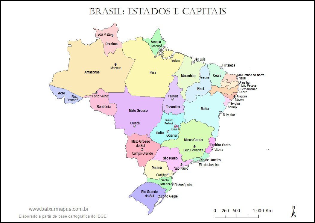 Mapa do Brasil com estados e capitais