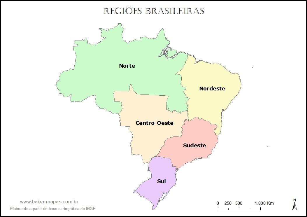 Mapa do Brasil dividido em regiões