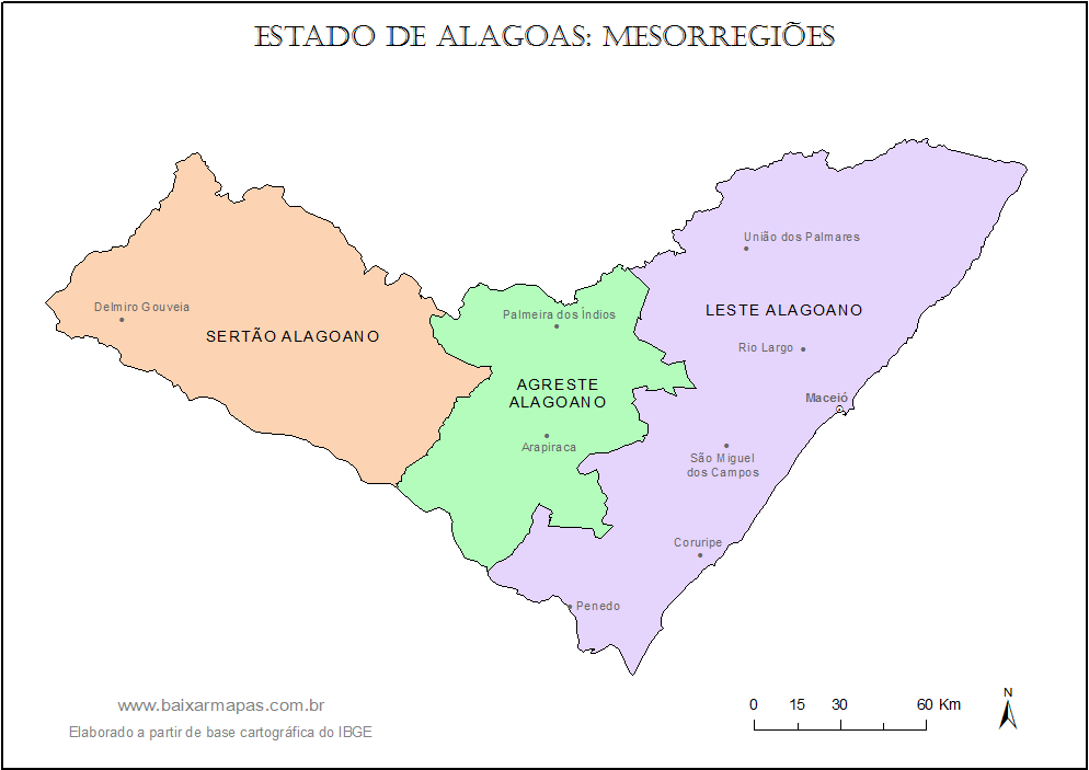 Mapa da divisão de mesorregiões do estado de alagoas...