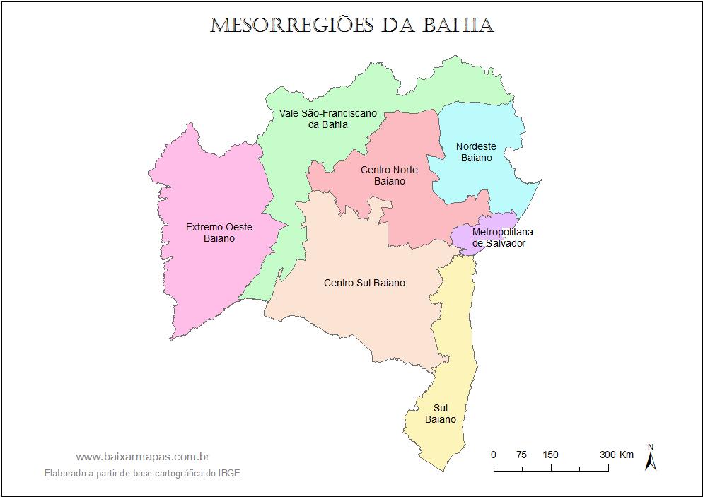 Mapa da Bahia dividido em mesorregiões.