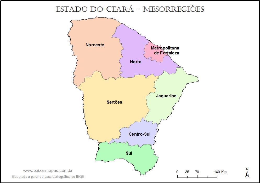 Mapa de mesorregiões do Ceará.