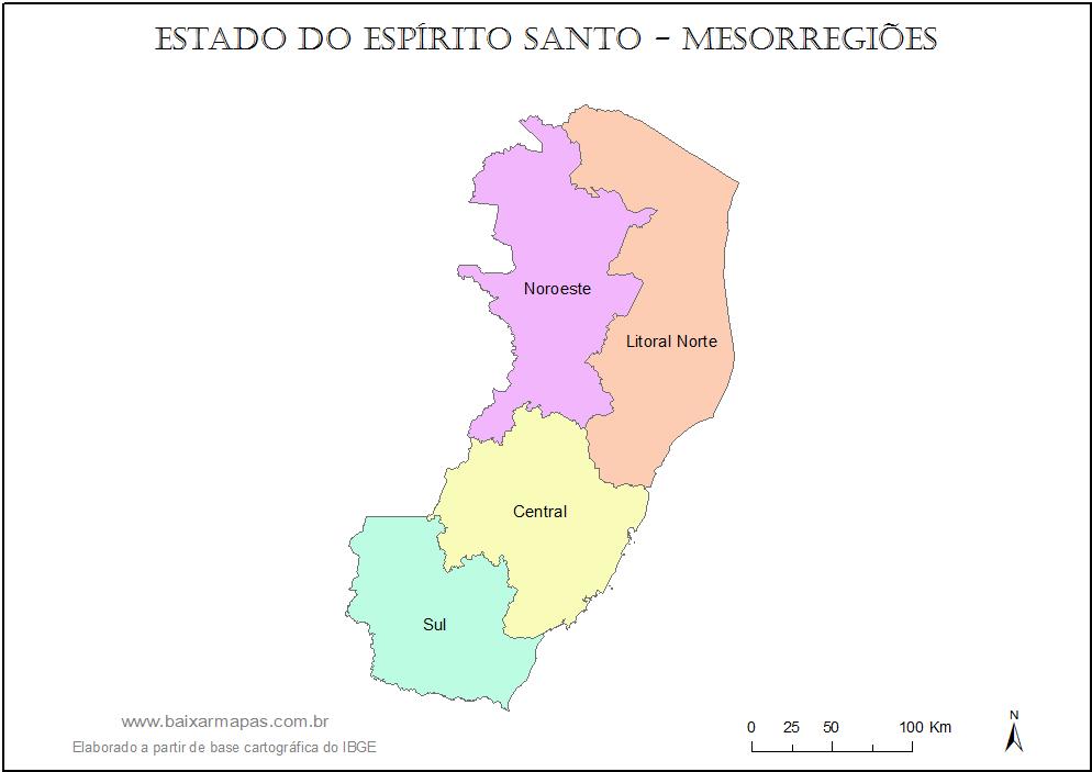 Mapa do estado do Espírito Santo dividido em mesorregiões.