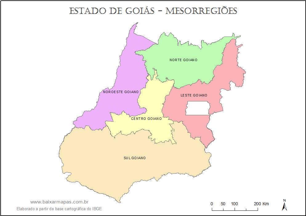 Mapa das mesorregiões de Goiás.