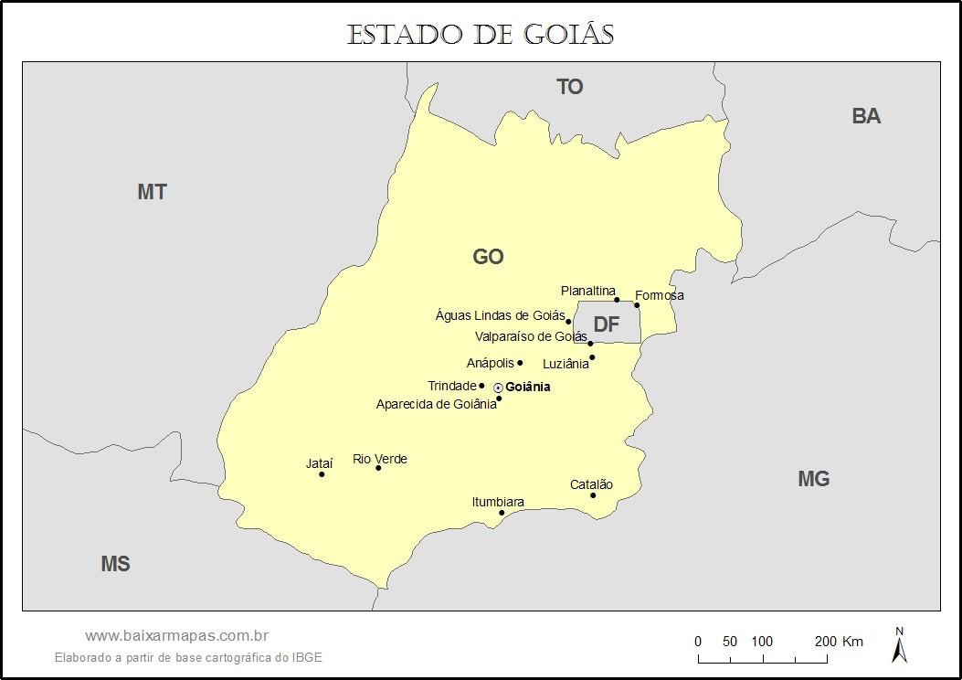 Mapa do estado de Goiás