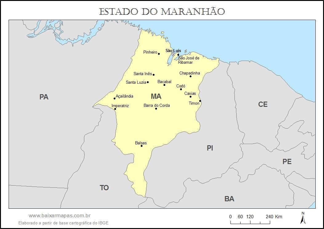 Mapa do estado do Maranhão