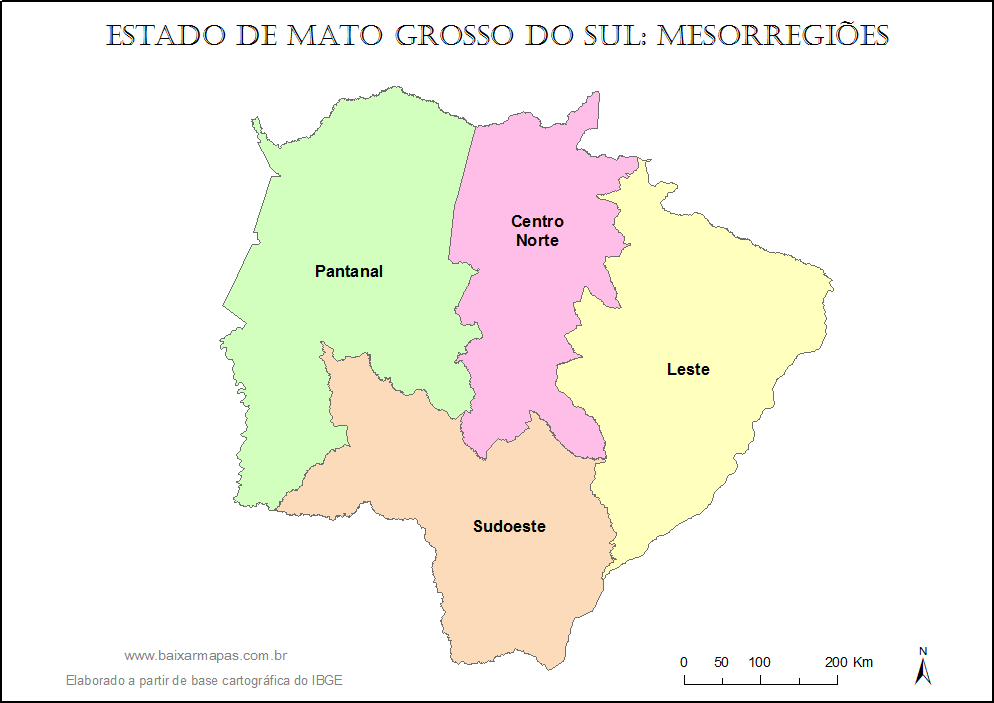 Mapa do estado de Mato Grosso do Sul dividido em mesorregiões