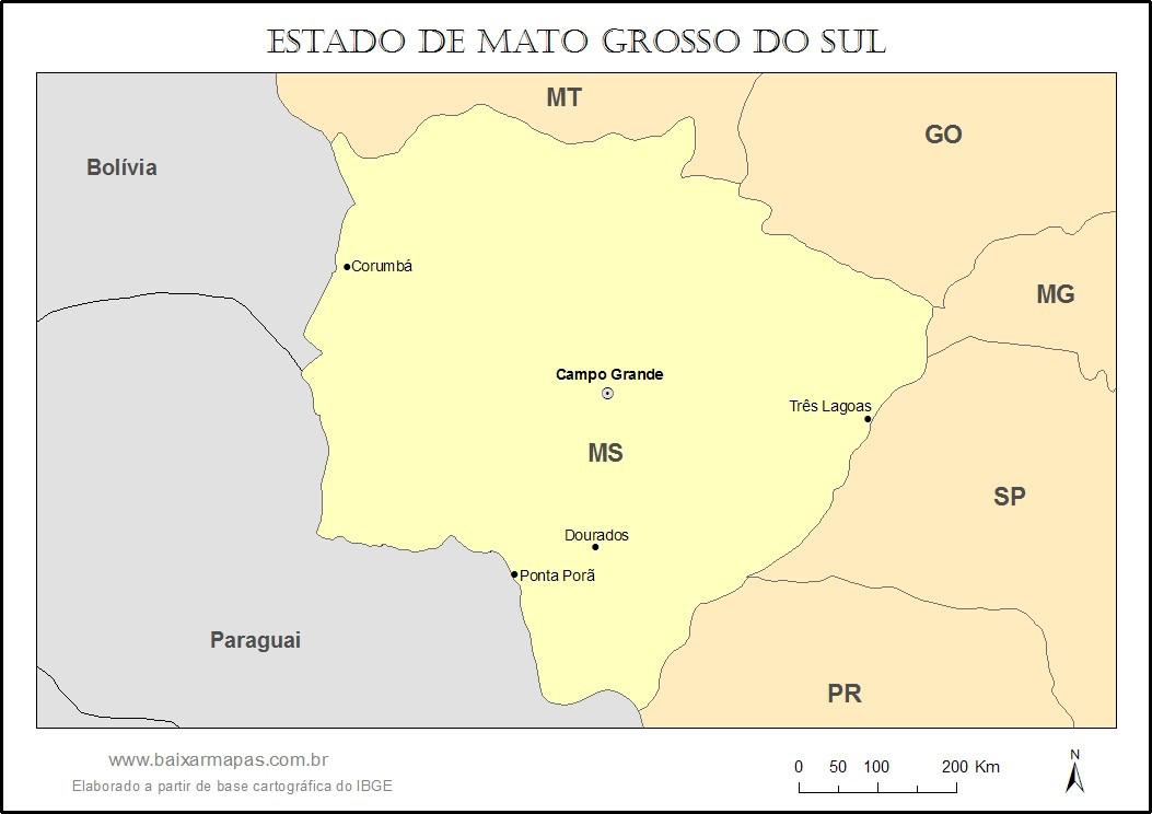 Mapa do estado de Mato Grosso do Sul
