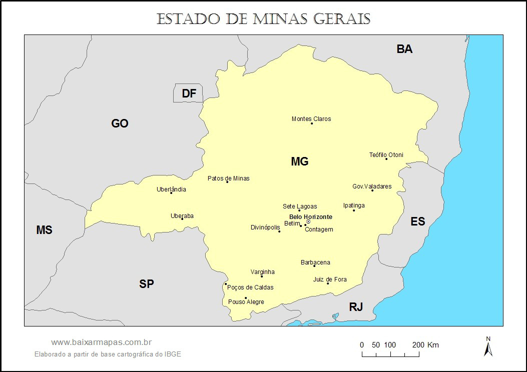 Mapa do estado de Minas Gerais