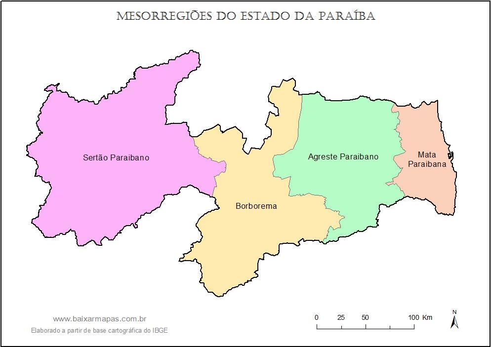 Mapa das mesorregiões da Paraíba.