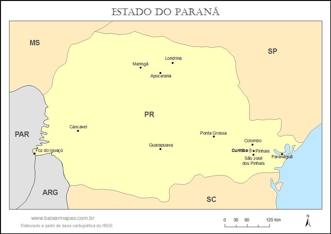 Mapa do estado do Paraná