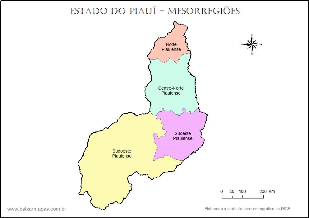 Mapa de mesorregiões do Piauí.