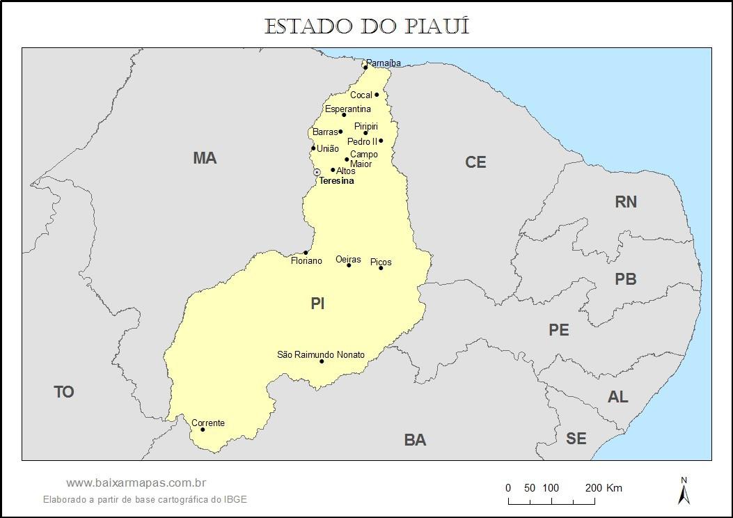 Mapa do estado do Piauí