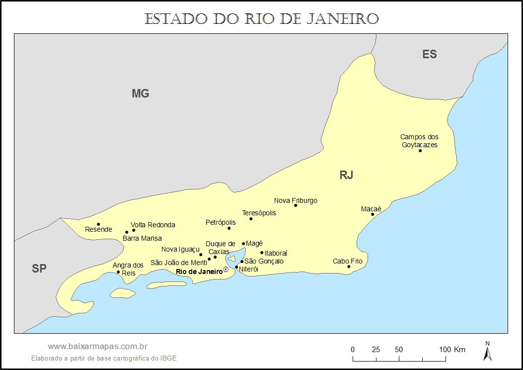 Mapa do estado do Rio de Janeiro