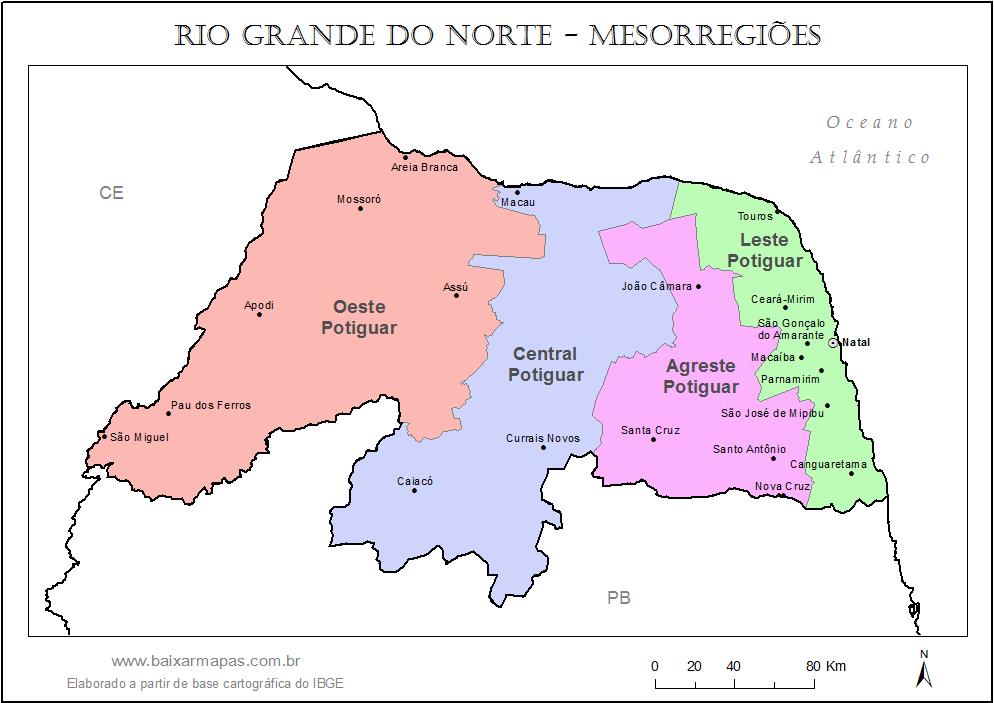 Mapa de divisão de mesorregiões do estado do Rio Grande do Norte.