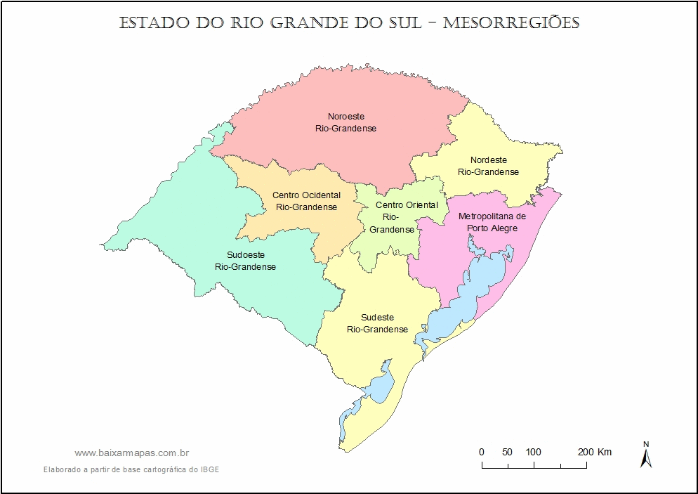 Mapa de mesorregiões do estado do Rio Grande do Sul.