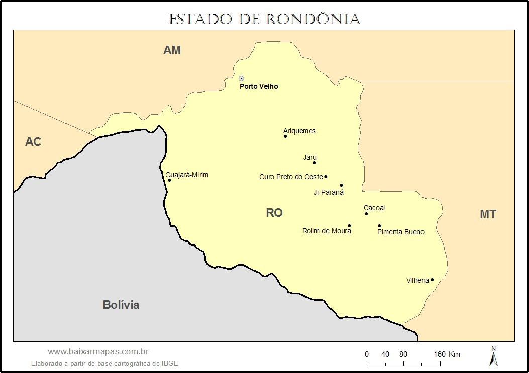 Mapa do estado de Rondônia