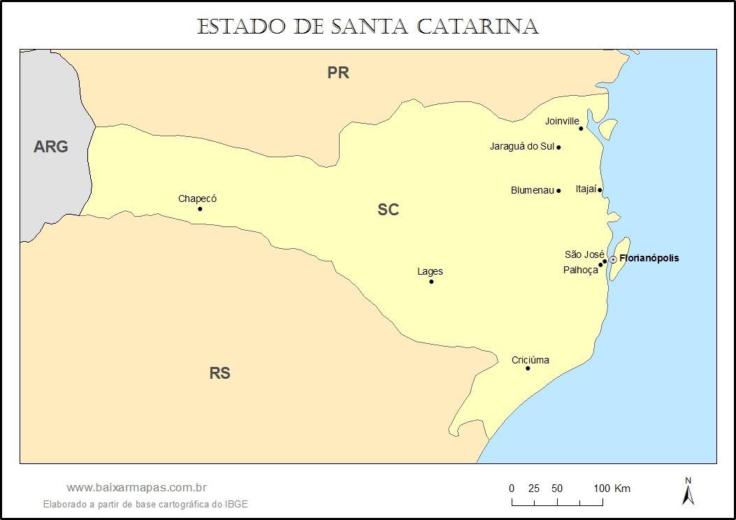 Mapa do estado de Santa Catarina
