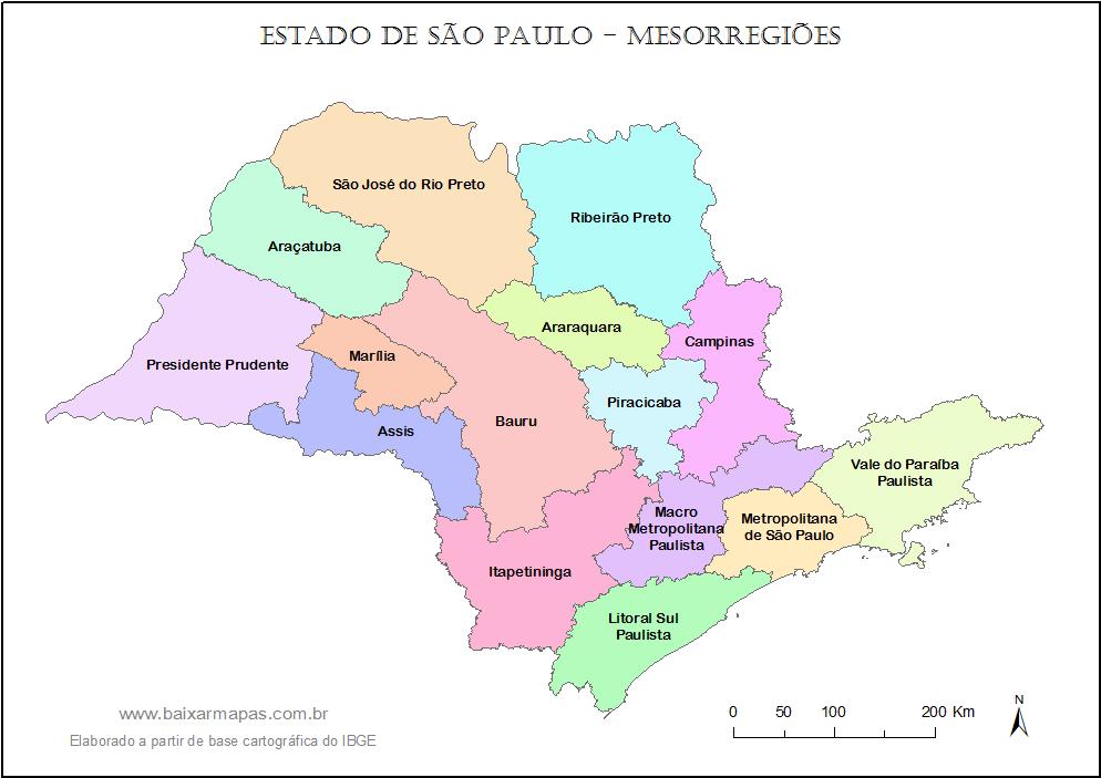 d25112e07 Mapa de mesorregiões do estado de São paulo | Baixar Mapas