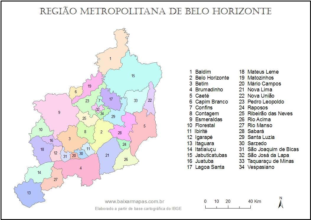 Mapa da Regio Metropolitana de Belo Horizonte RMBH Baixar Mapas
