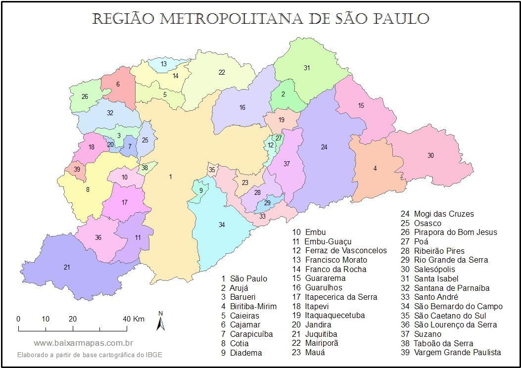 Mapa da Região Metropolitana de São Paulo