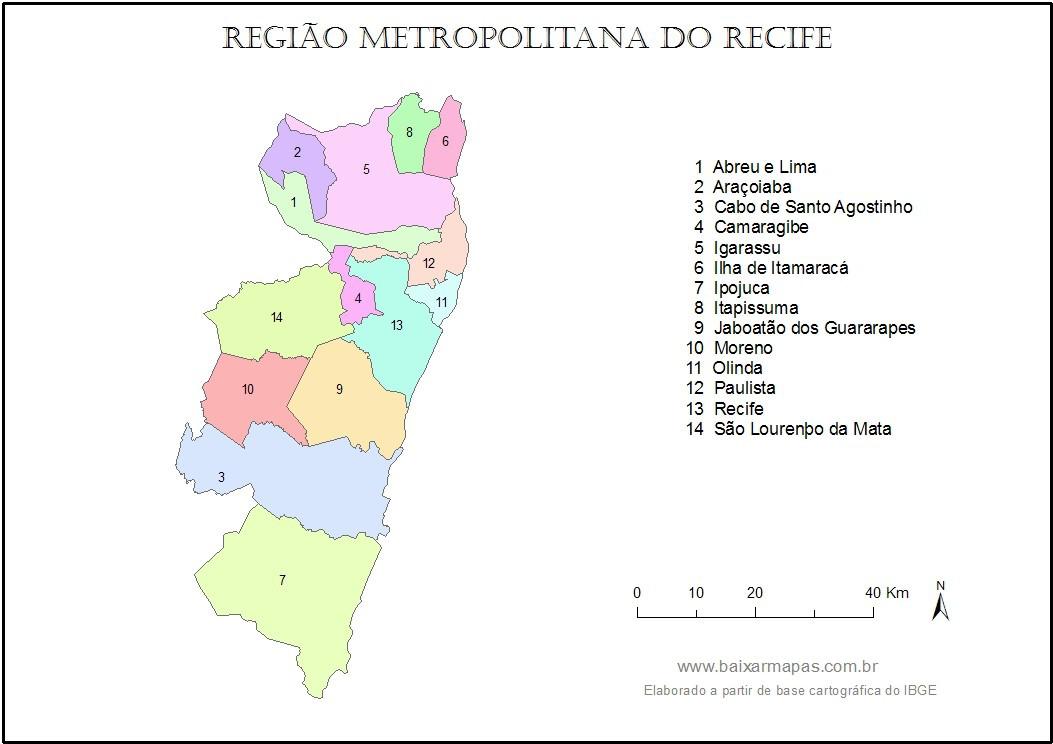 Mapa da Região Metropolitana do Recife