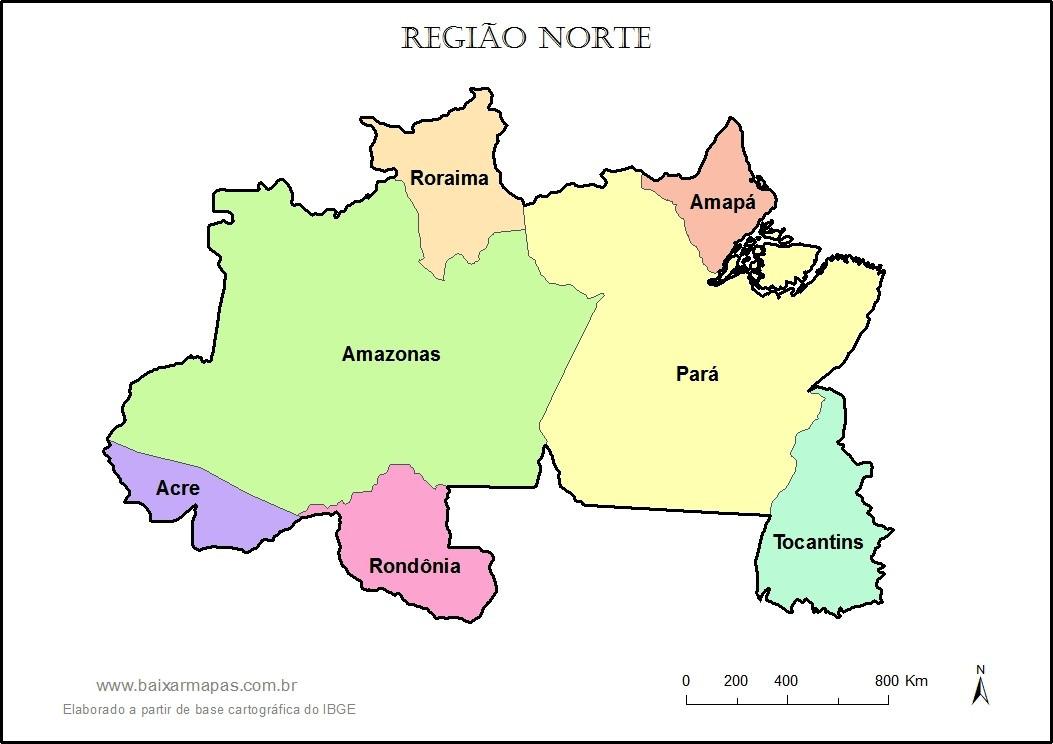 Mapa da Região Norte - Estados