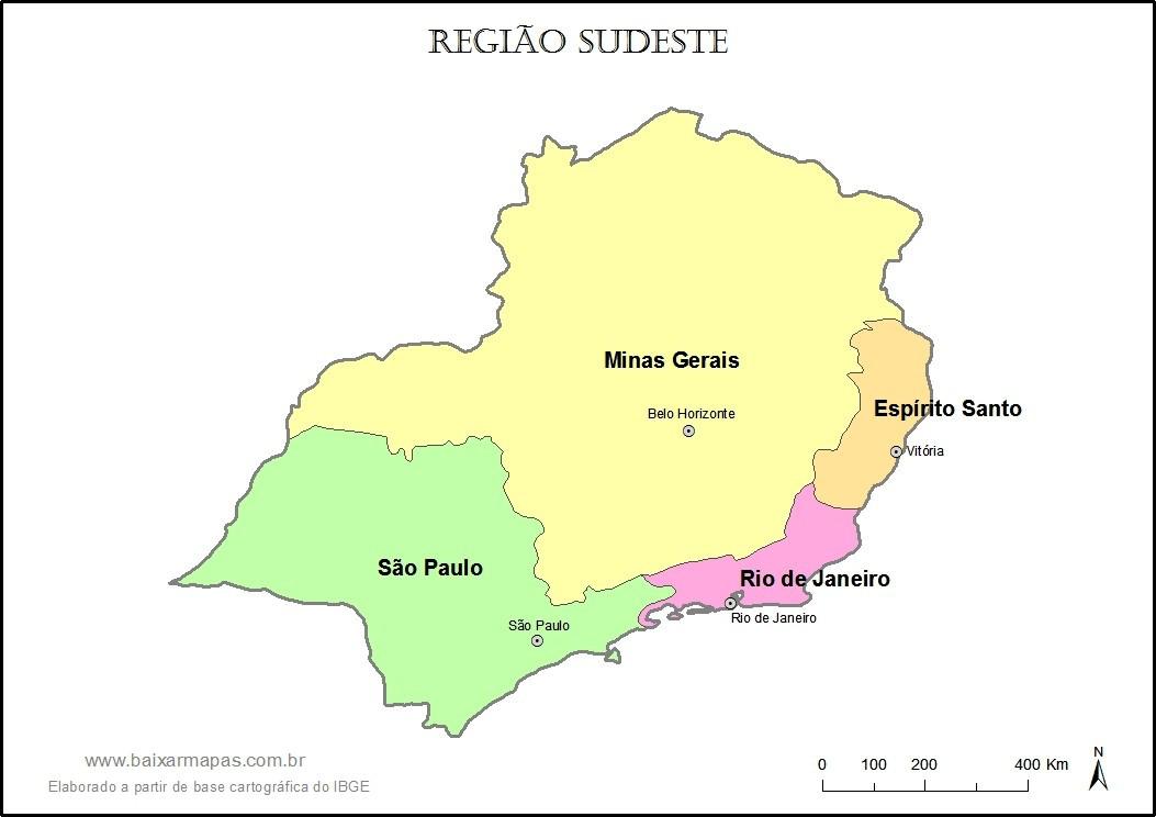 Mapa da Região Sudeste - Estados